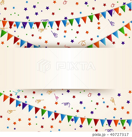 confetti and ribbon banner happy birthdayのイラスト素材 40727317