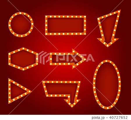 Realistic Detailed 3d Glowing Signs Set. Vector 40727652