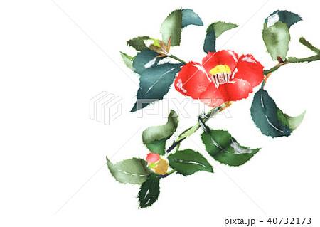 椿の花 和紙ちぎり絵のイラスト素材 40732173 Pixta