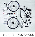 bicycle parts on white rustic background 40734500