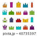 Castle icon set, color outline style 40735397