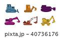 ショベルカー 掘削機 油圧ショベルのイラスト 40736176