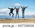 富士山 外国人 ジャンプ ポートレート 40738606