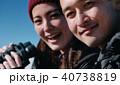 トレッキング カップル 笑顔の写真 40738819