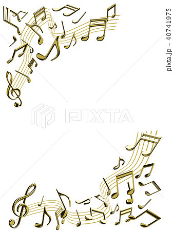 ベクター イラスト 音楽イメージ 音符 ゴールド フレームのイラスト素材