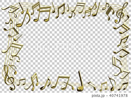 ベクター イラスト 音楽イメージ 音符 ゴールド フレーム 40741978