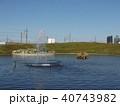 習志野市サクラ広場のカルガモ池の噴水と巣箱 40743982