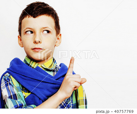 little cute boy on white background gesture tumbs up smiling cloの