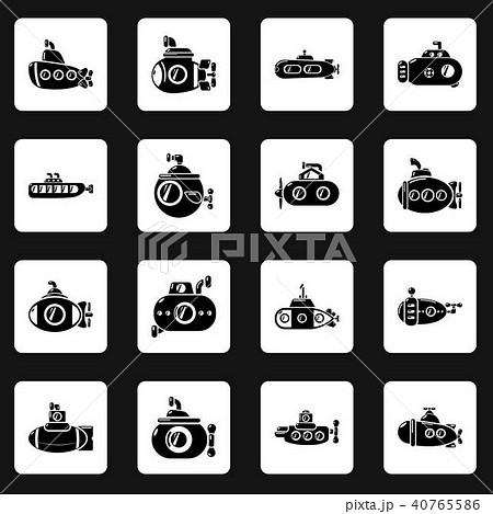 Submarine icons set, simple style 40765586