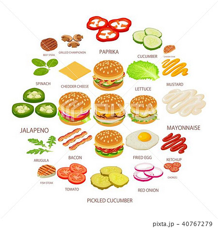 Burger ingredient icons set, isometric style 40767279