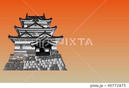 日本の城現存天守宇和島城夕焼けバック 40772875