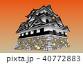 日本の城現存天守彦根城夕焼けバック 40772883