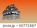 日本の城現存天守彦根城夕焼けバック 40772887