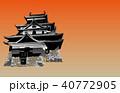 日本の城現存天守松江城夕焼けバック 40772905