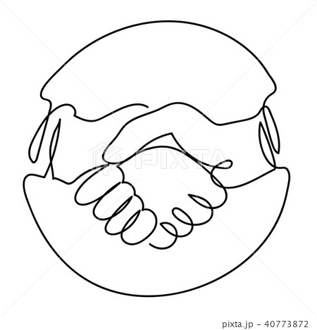One line drawing of Handshake Icon in Circle 40773872