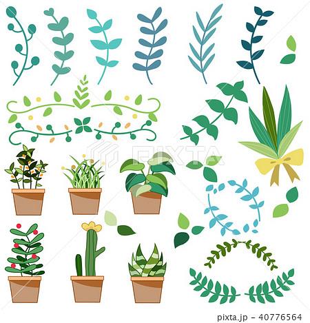 観葉植物ガーデニングサボテンのイラストセットのイラスト素材