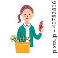 女性 主婦 買い物のイラスト 40782816