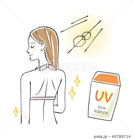 日焼け止めと水着の女性のイラスト素材 40789714 Pixta
