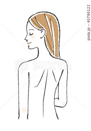 女性 背中 ロングヘア 40790122