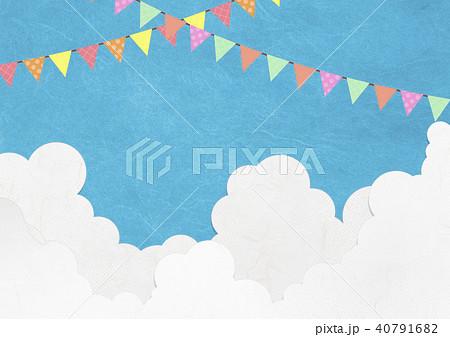 運動会 バザー マルシェ マーケット 青空 旗のイラスト素材 40791682