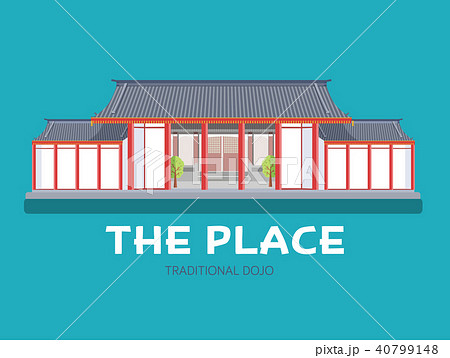 Japanese architecture house in design background 40799148