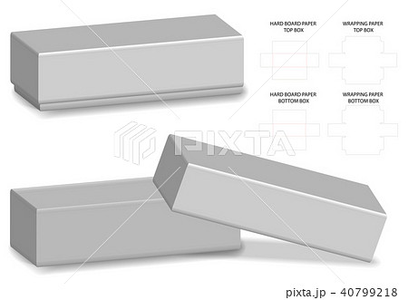 rigid box packaging die cut template 3d mockupのイラスト素材