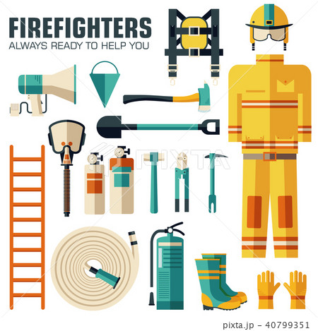 Flat firefighter uniform and first help equipment  40799351