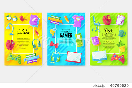 it geeks vector brochure cards set.  40799629