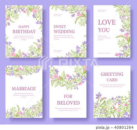 set of flower invitation cards or banner brochureのイラスト素材