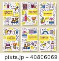 Set of thin line kids pattern concept. 40806069