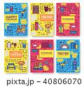 Set of thin line kids pattern concept. 40806070
