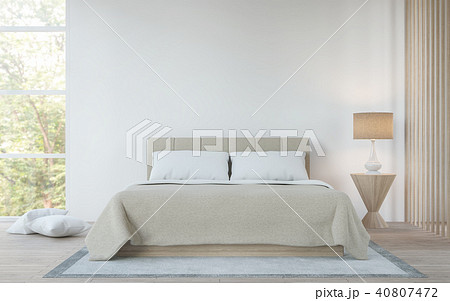 Modern white  bedroom in the forest 3d render 40807472