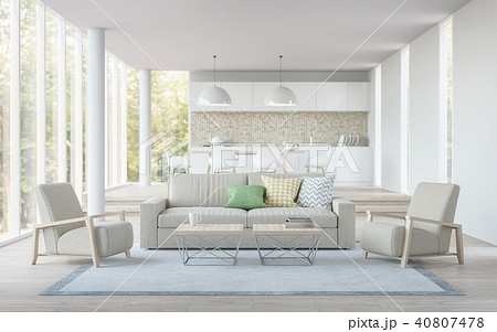 Modern white living and dining room 3D render 40807478