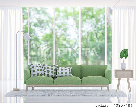 Modern white living room with green sofa 3d render 40807484