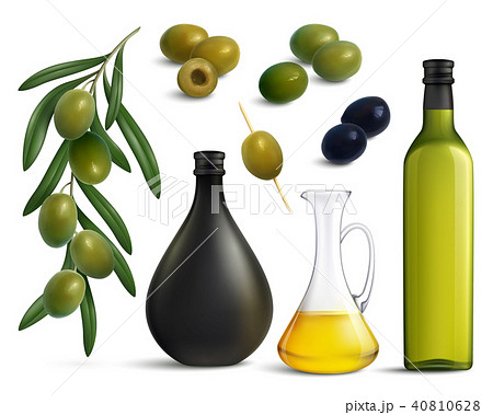 Olives And Oil Realistic Set 40810628