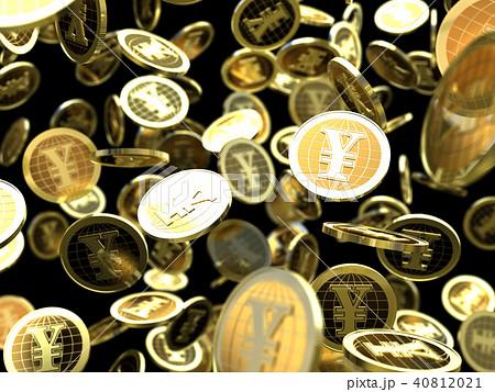 CG イラスト コイン 舞い落ちる バックグラウンド 円 40812021
