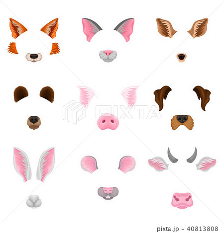 Flat vector set of animal faces - ears and noses. Colorful masks for carnival. Design for selfie 40813808