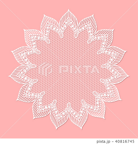 vintage lacy frame on pink background doily のイラスト素材