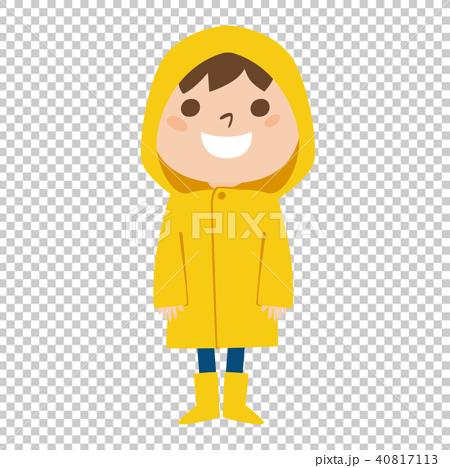 穿雨衣的一个高兴的男孩的例证在一个雨天 40817113