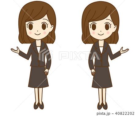 片手で案内をする女性 左右2パターン 40822202