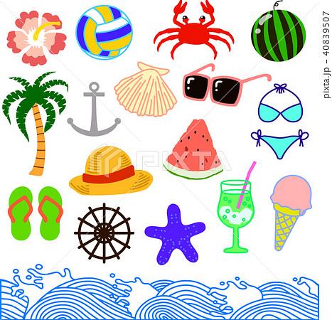 夏のイラスト セット 40839507