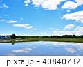 青空 田んぼ 水田の写真 40840732