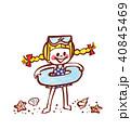 女の子 海水浴 浮き輪のイラスト 40845469