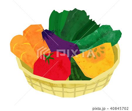 野菜 新鮮 イラスト にんじん トマト カボチャ ナス 40845702