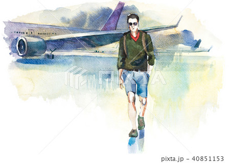 Arrival. Man traveler going from plane to airport. Tourist passager walking from aircraft to 40851153