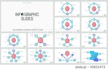 Bundle of minimalist infographic design layouts. Round elements with arrows placed around shooting 40852473