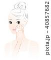 女性 ファンデーション メイクのイラスト 40857682