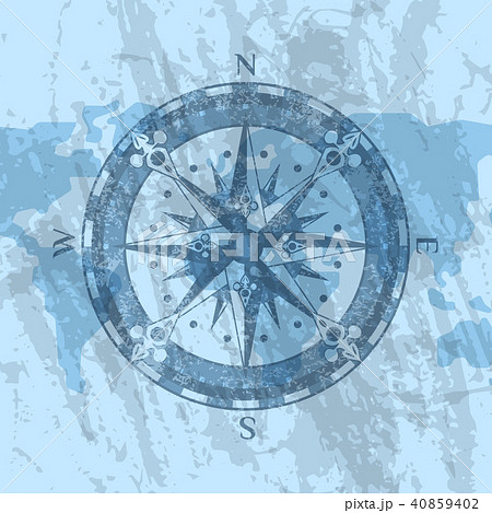 Compass rose on background of world map 40859402
