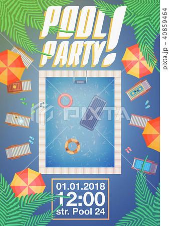 summer pool party invitation layoutのイラスト素材 40859464 pixta