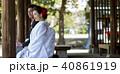 屋外 座る 結婚の写真 40861919